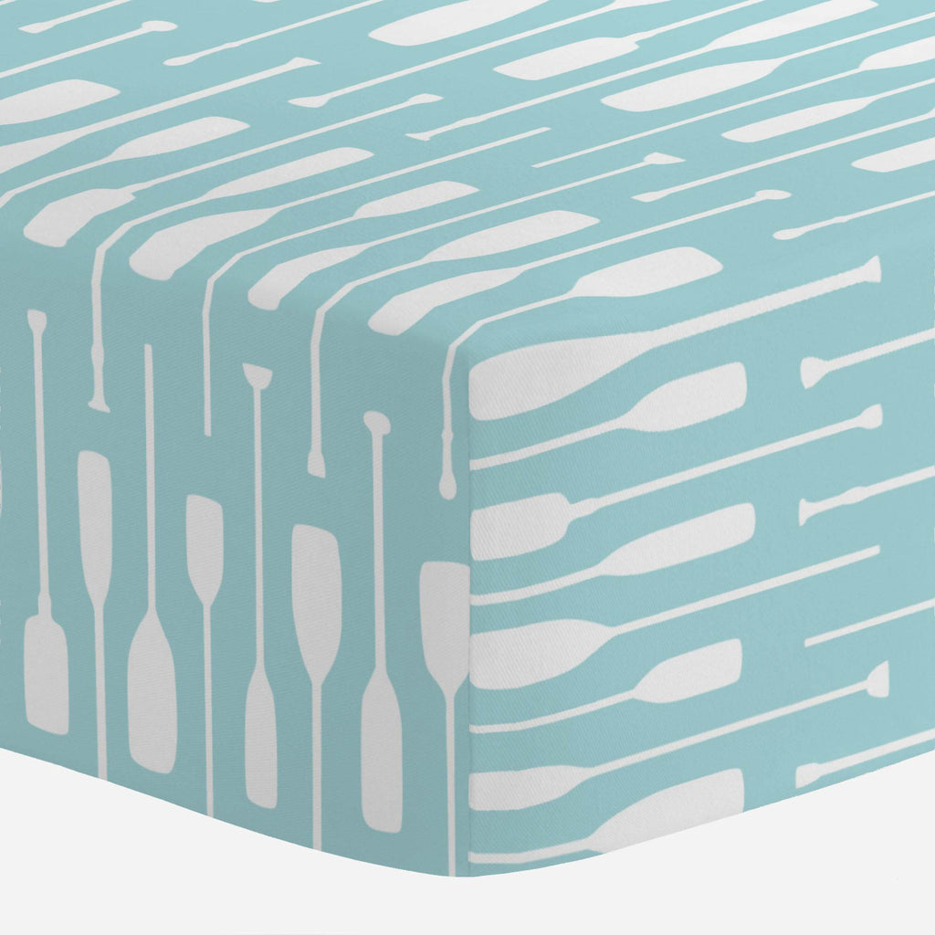 Product image for Seafoam Aqua and White Oars Crib Sheet