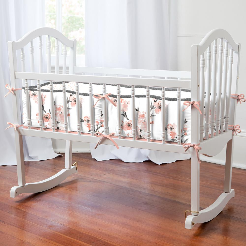 Product image for Light Coral Cherry Blossom Cradle Bumper