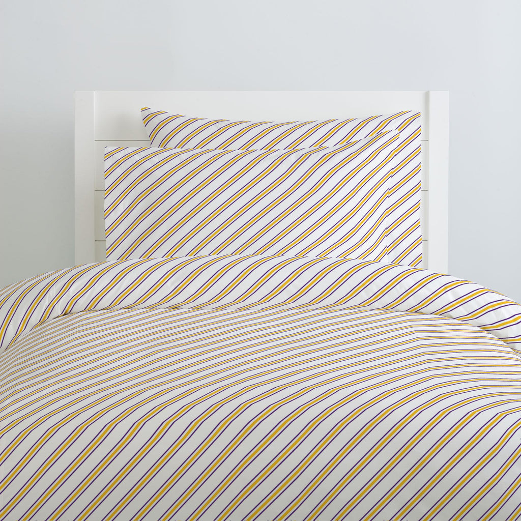Product image for Purple and Yellow Necktie Stripe Duvet Cover