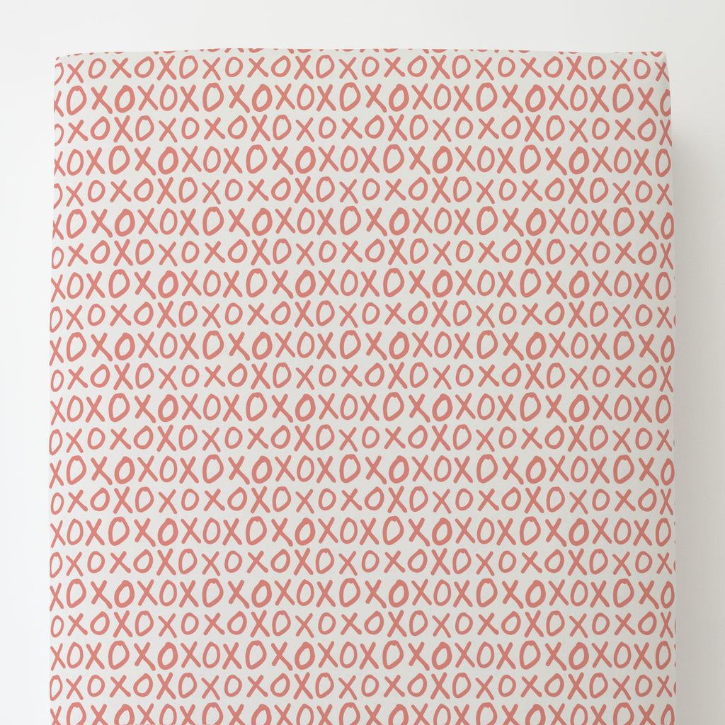 Product image for Light Coral XO Toddler Sheet Bottom Fitted