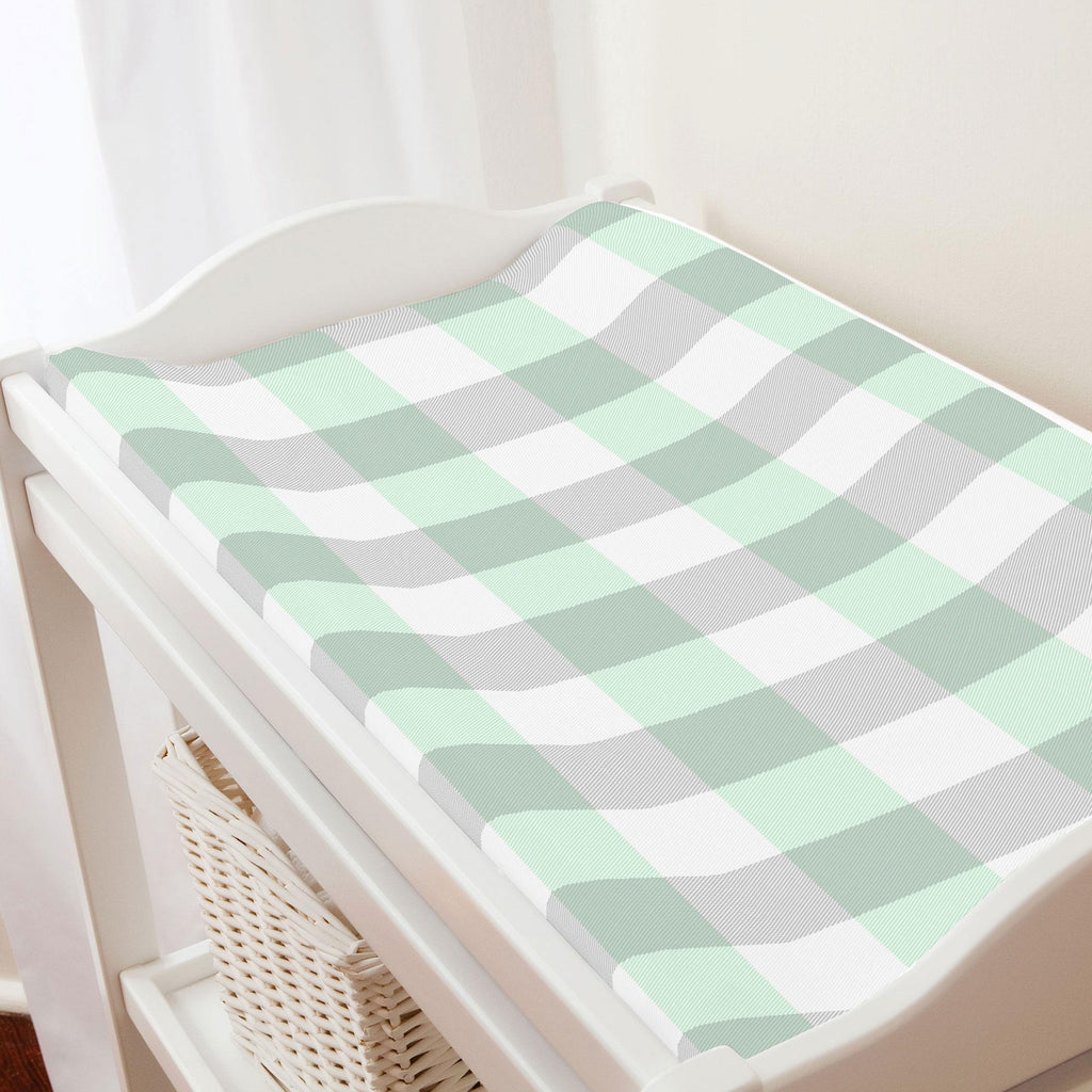 Product image for Mint and Gray Buffalo Check Changing Pad Cover