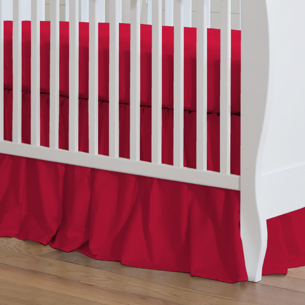 Product image for Solid Red Crib Skirt Gathered
