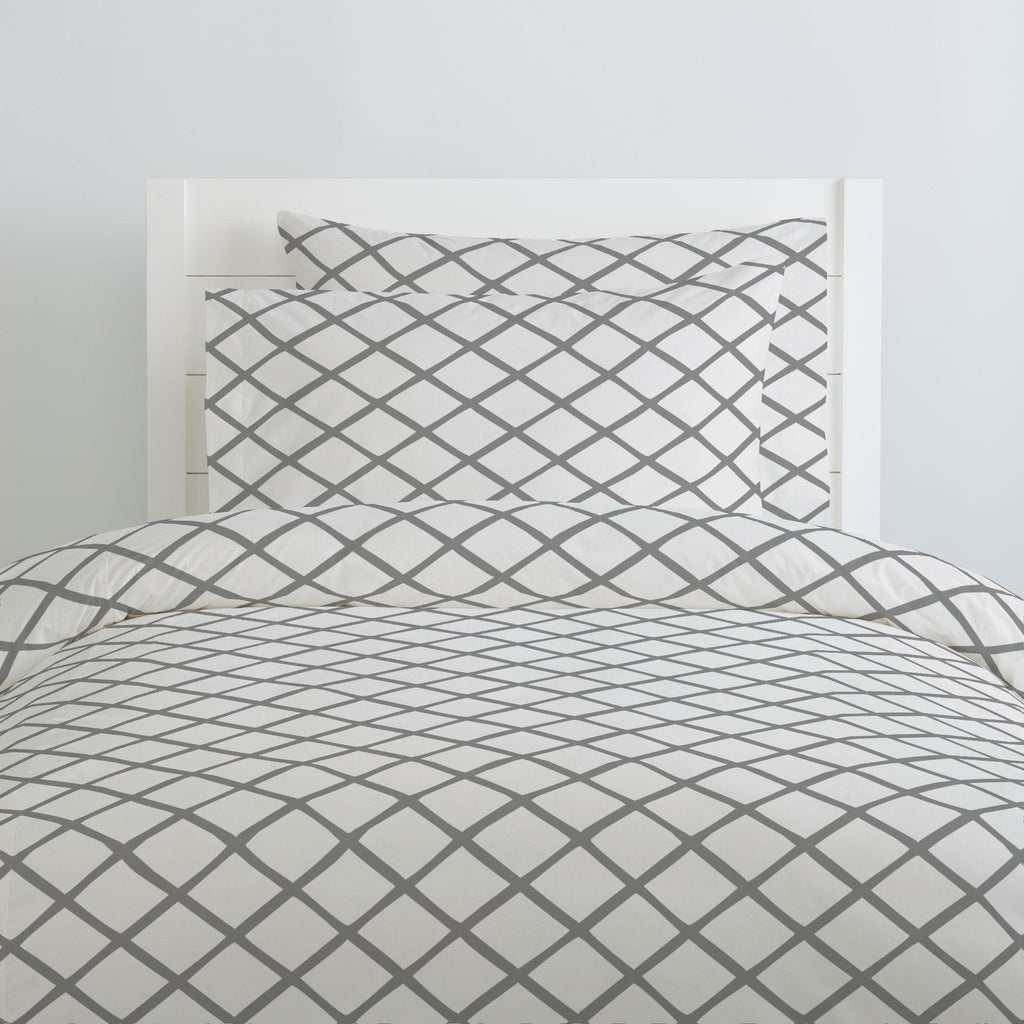 Product image for Cloud Gray Trellis Duvet Cover