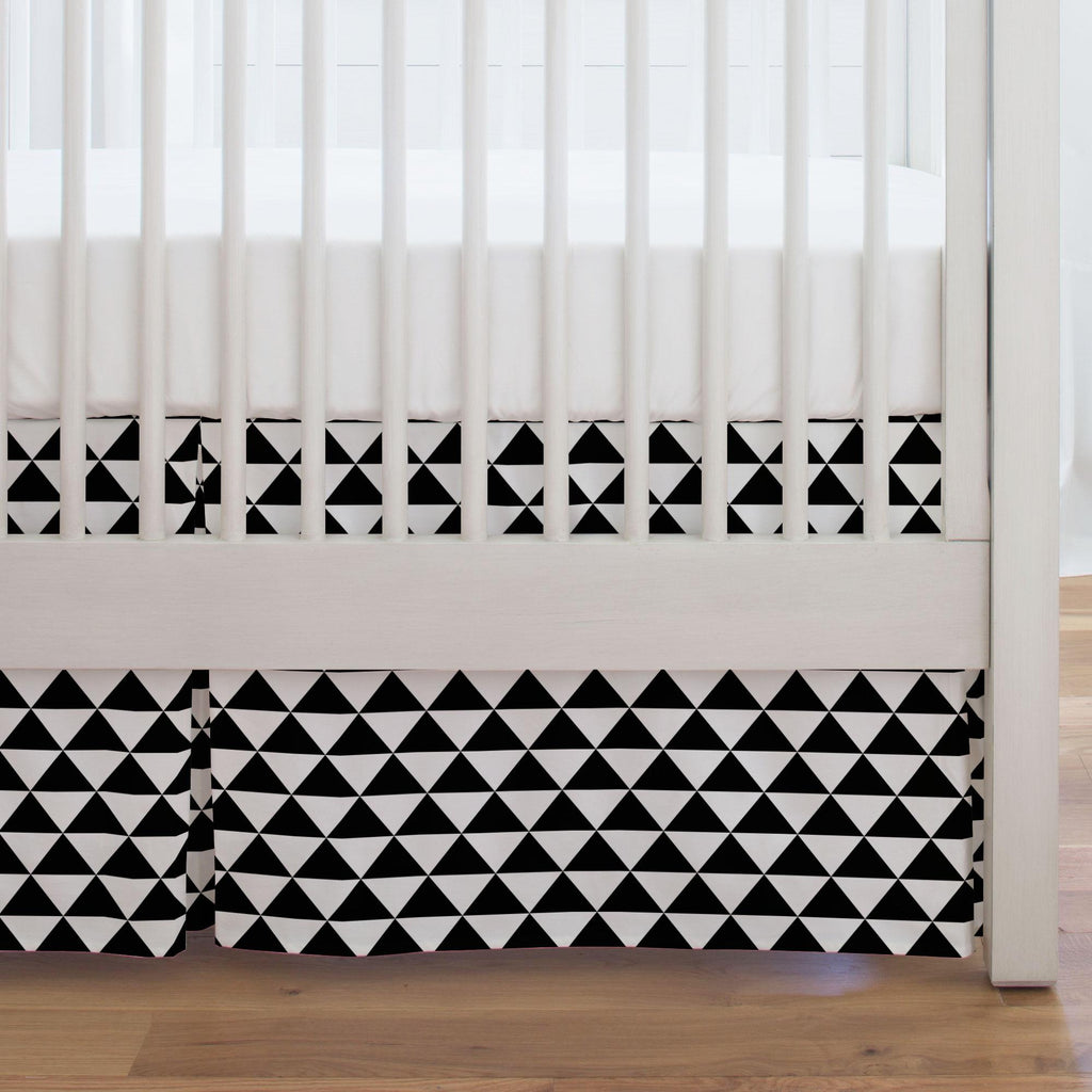 Product image for Onyx Triangle Stack Crib Skirt Single-Pleat