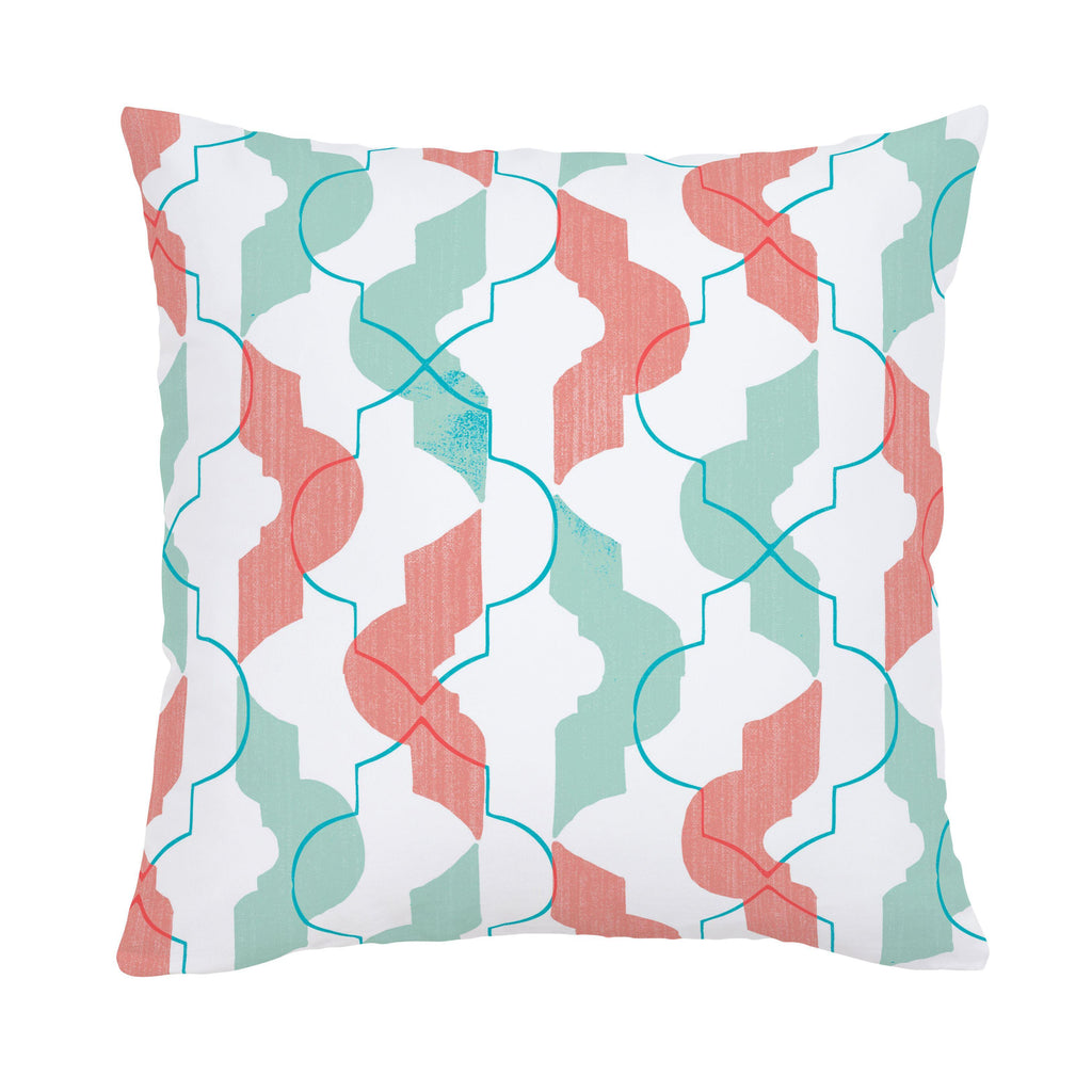 Product image for Coral and Teal Modern Quatrefoil Throw Pillow