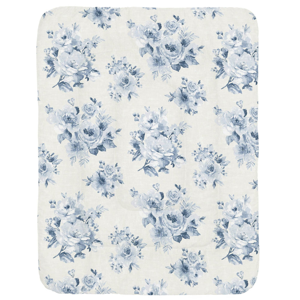 Product image for Blue Farmhouse Floral Crib Comforter