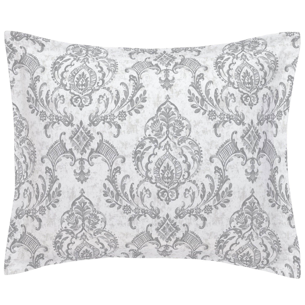 Product image for Gray Painted Damask Pillow Sham