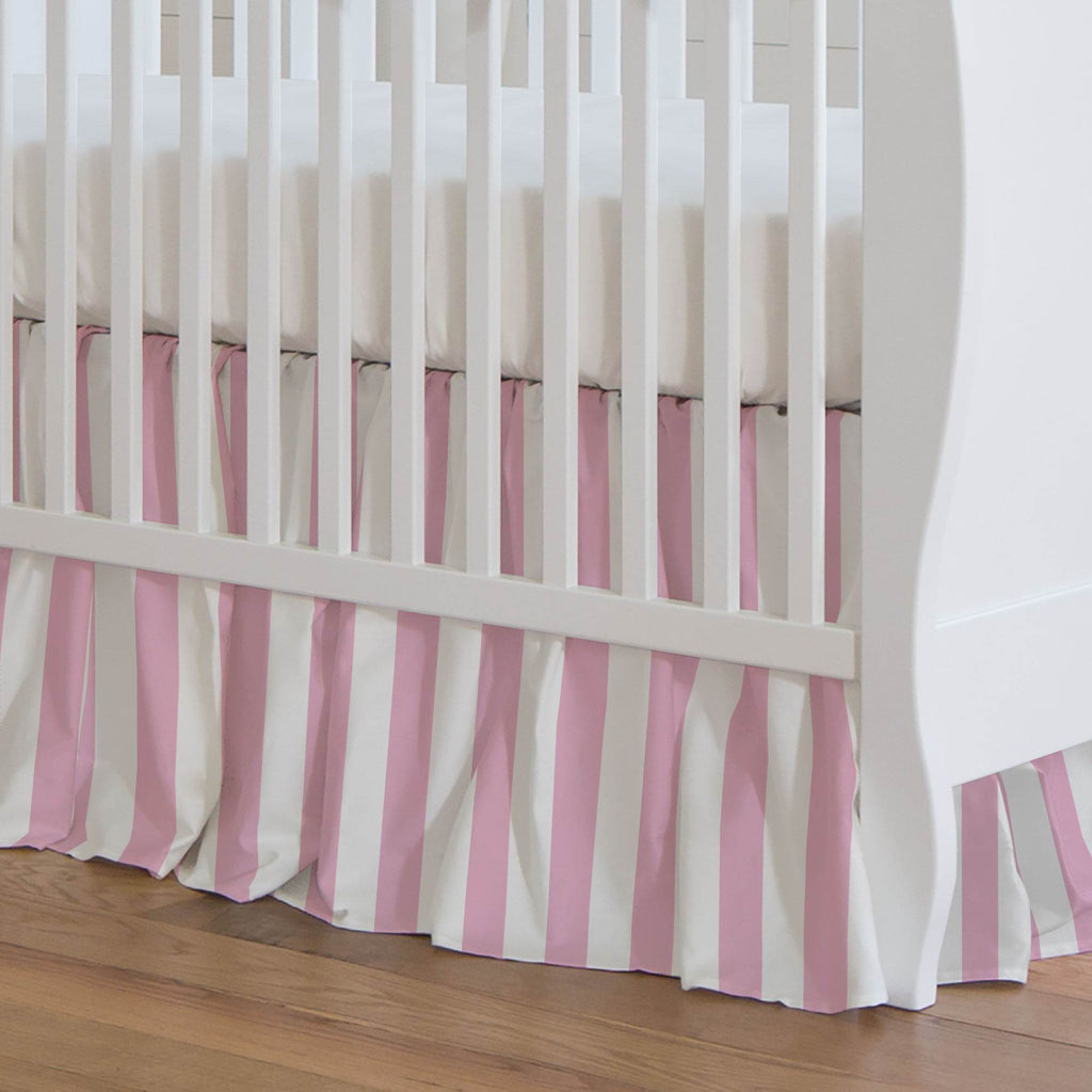 Product image for Bubblegum Pink Stripe Crib Skirt Gathered