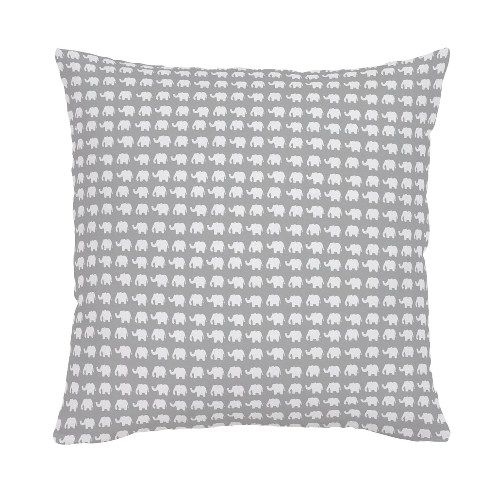 Product image for Gray and White Elephant Parade Throw Pillow