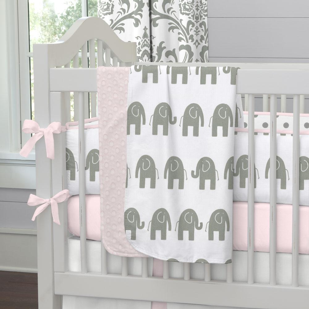 Product image for Pink and Gray Elephants Baby Blanket