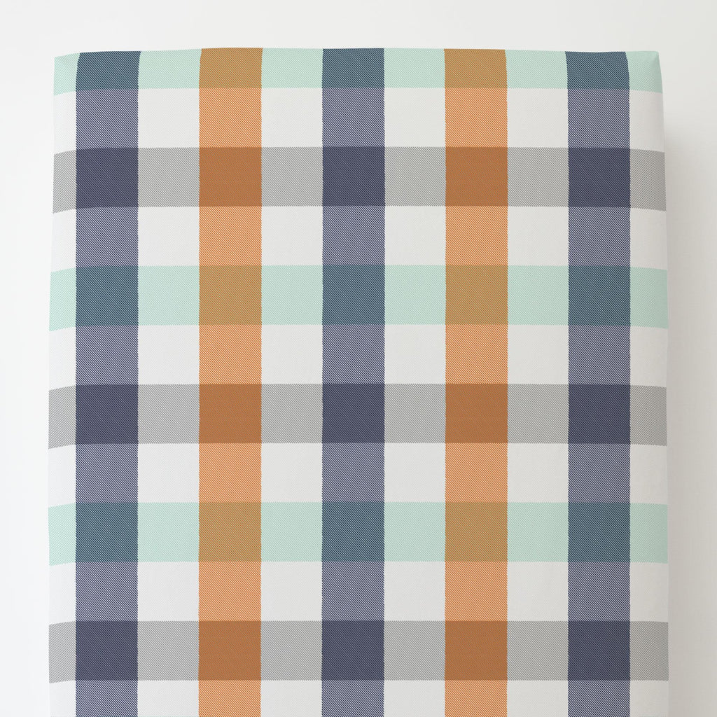 Product image for Navy and Orange Buffalo Check Toddler Sheet Bottom Fitted