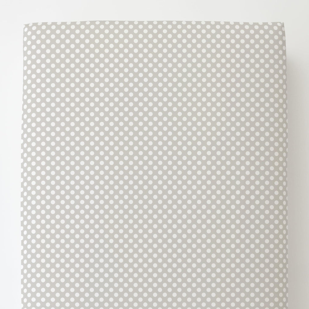 Product image for French Gray and White Dot Toddler Sheet Bottom Fitted
