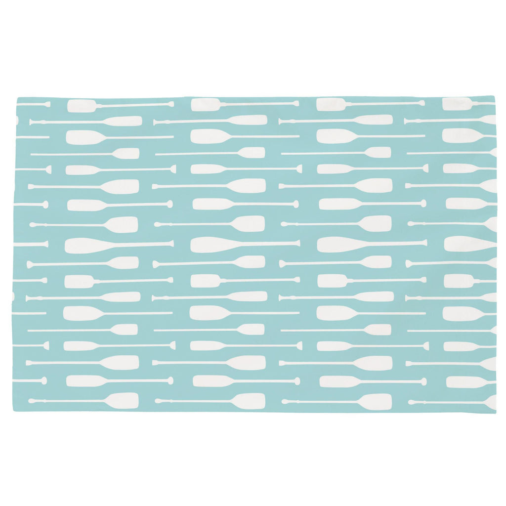 Product image for Seafoam Aqua and White Oars Toddler Pillow Case