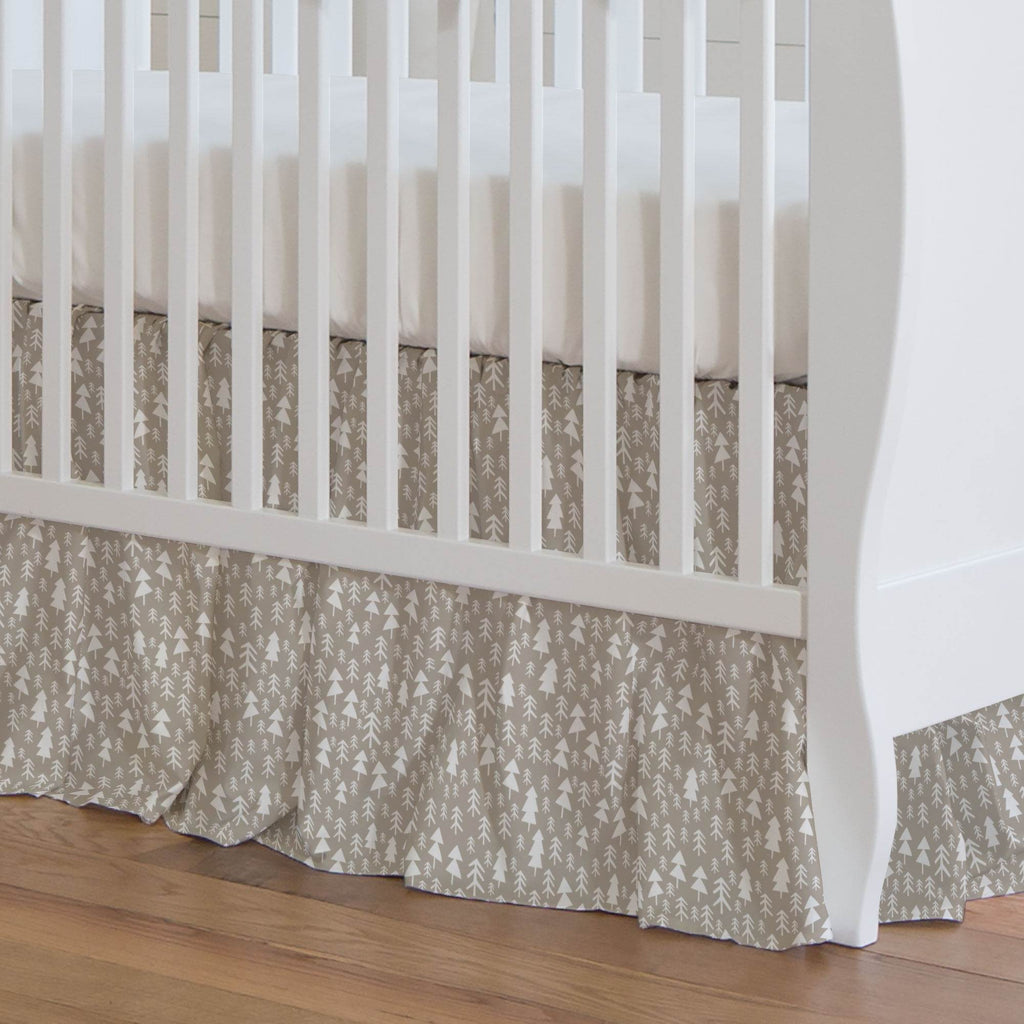 Product image for Taupe Baby Woodland Trees Crib Skirt Gathered