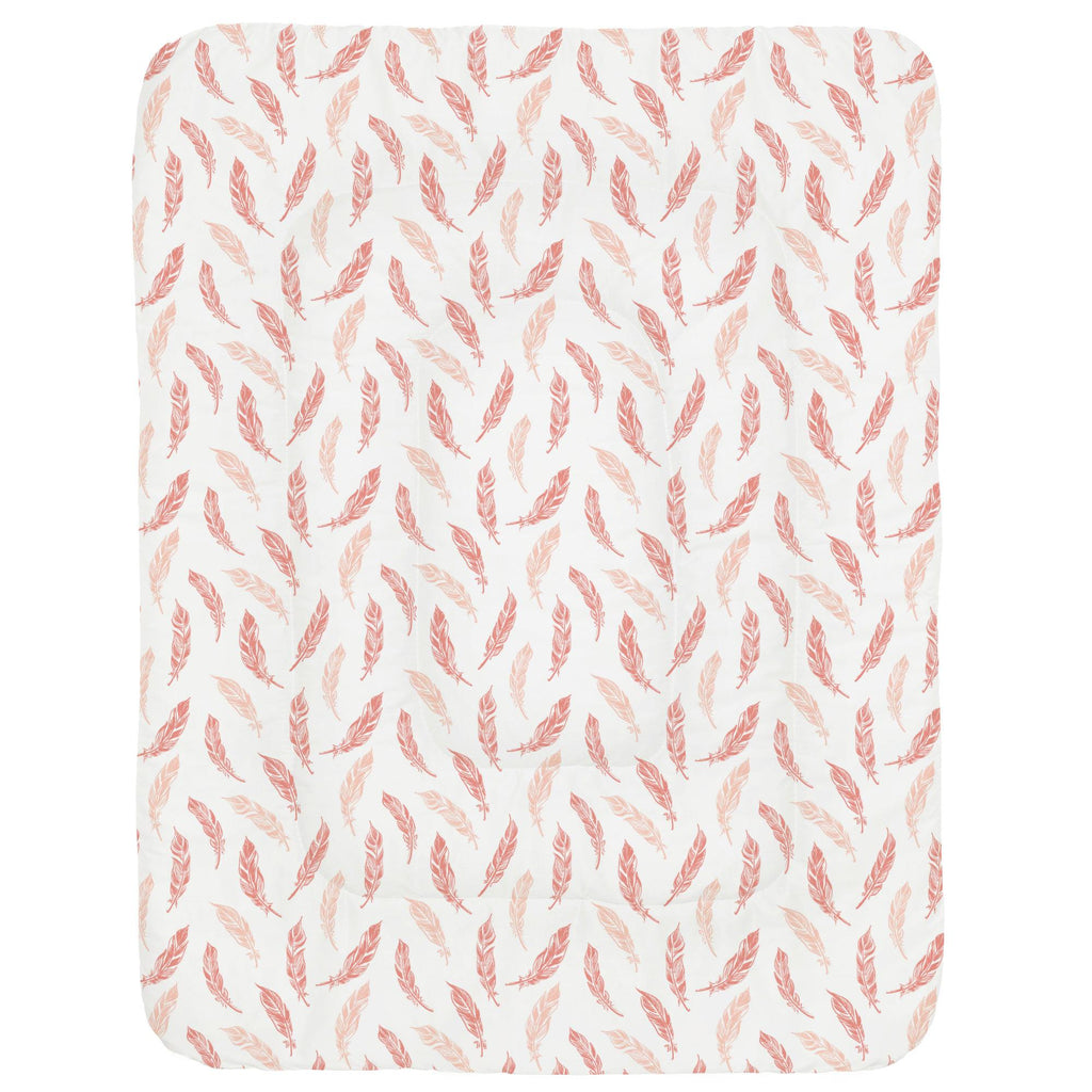 Product image for Light Coral and Peach Hand Drawn Feathers Crib Comforter