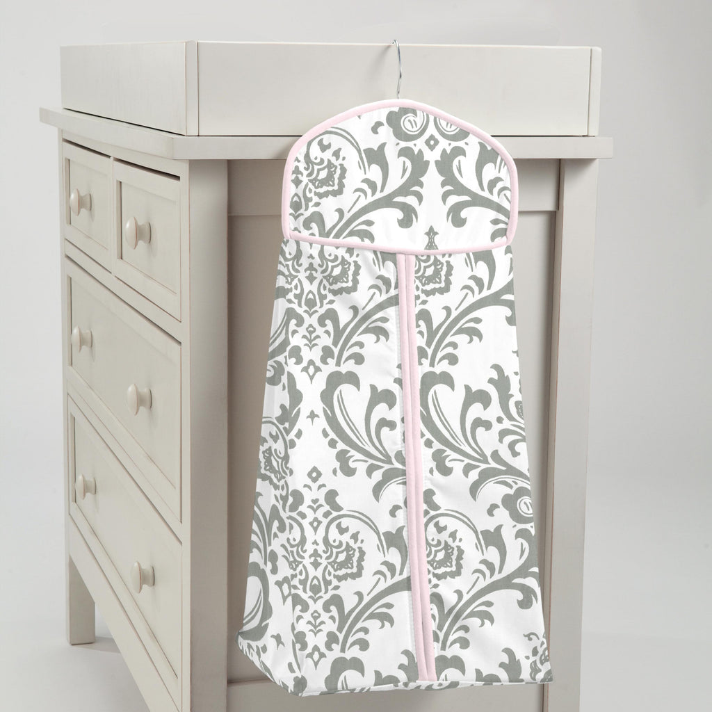 Product image for Pink and Gray Traditions Damask Diaper Stacker
