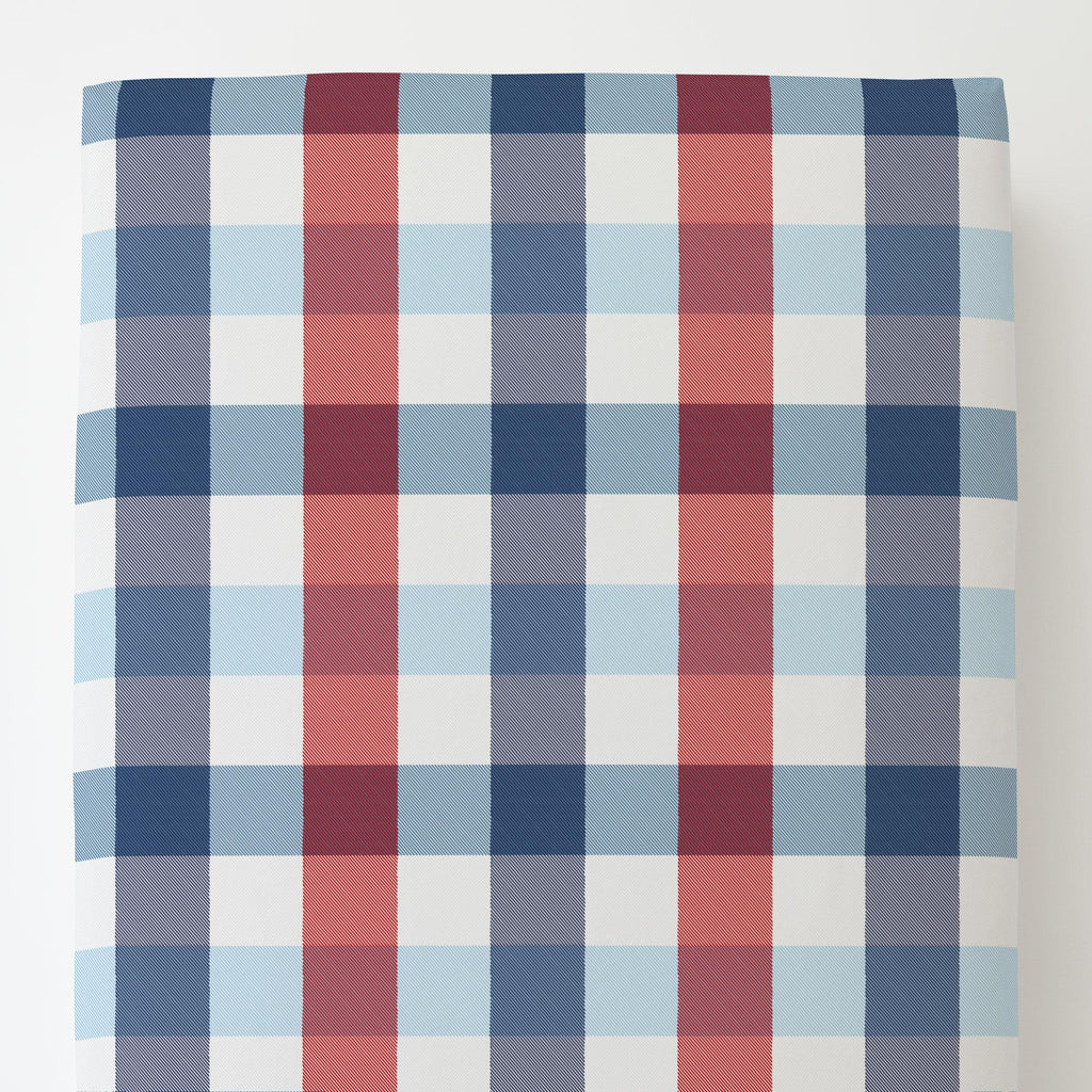 Product image for Navy and Red Buffalo Check Toddler Sheet Bottom Fitted