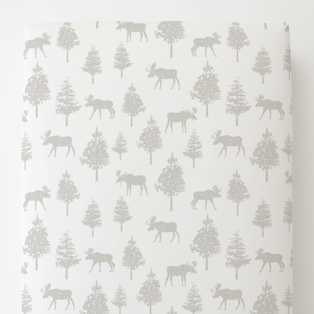 Product image for French Gray Moose Toddler Sheet Bottom Fitted