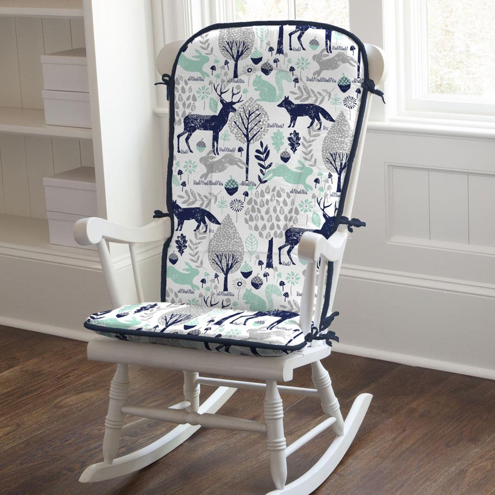Product image for Navy and Mint Woodland Animals Rocking Chair Pad