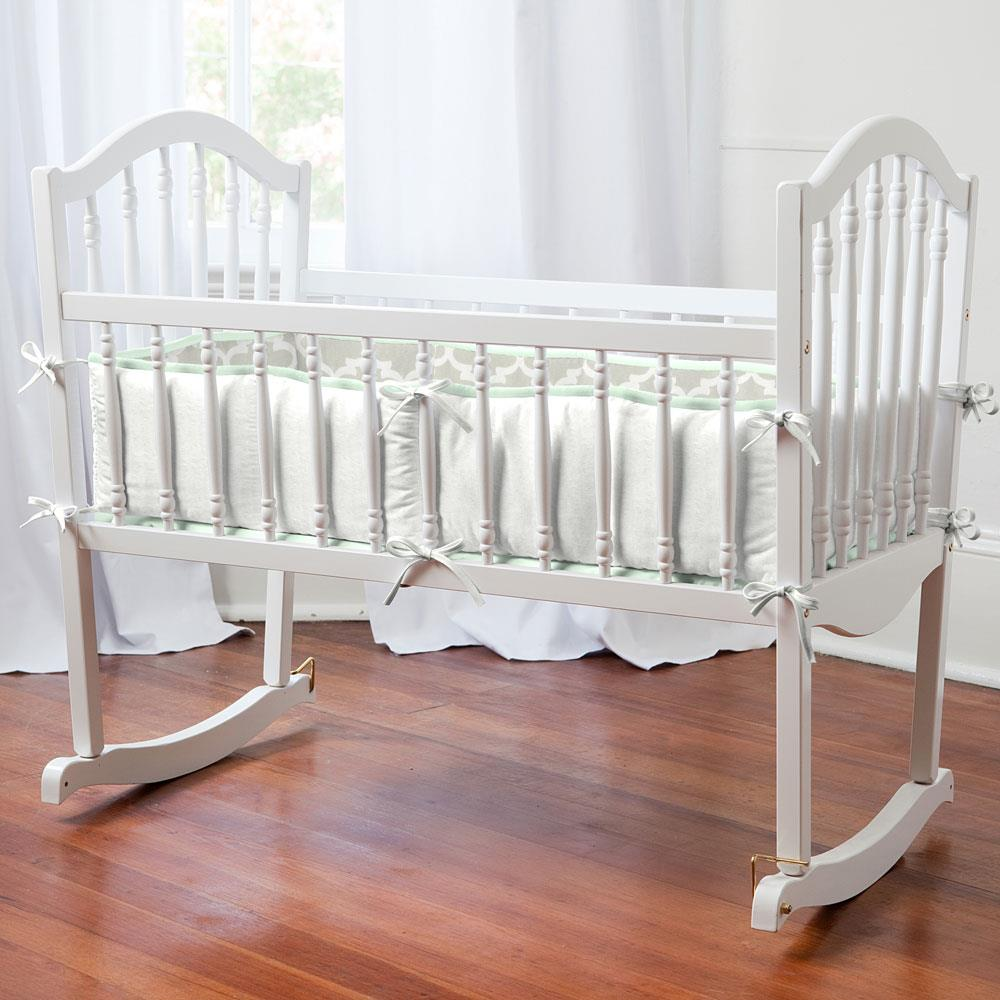 Product image for French Gray Quatrefoil Cradle Bumper