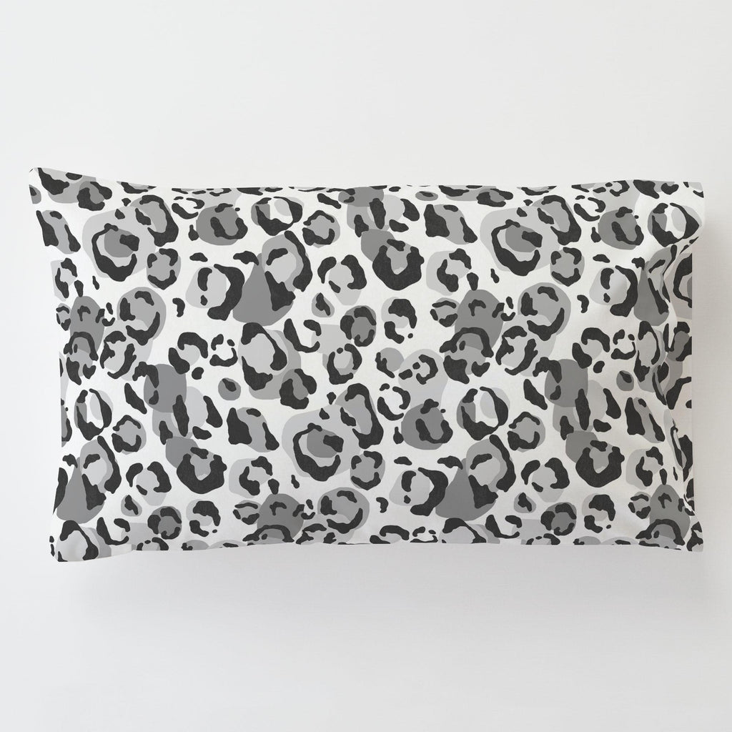 Product image for Gray Leopard Toddler Pillow Case with Pillow Insert