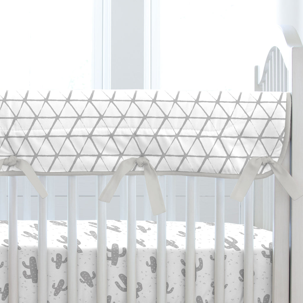 Product image for White and Silver Gray Aztec Triangles Crib Rail Cover
