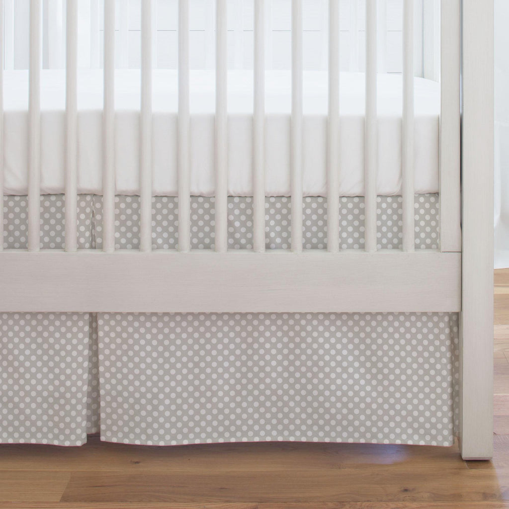 Product image for French Gray and White Dot Crib Skirt Single-Pleat