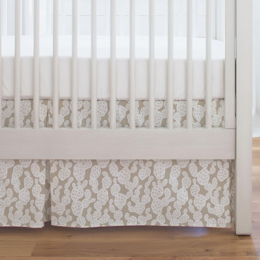 Product image for Taupe Prickly Pear Crib Skirt Single-Pleat