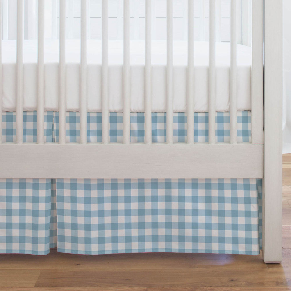 Product image for Lake Blue Gingham Crib Skirt Single-Pleat