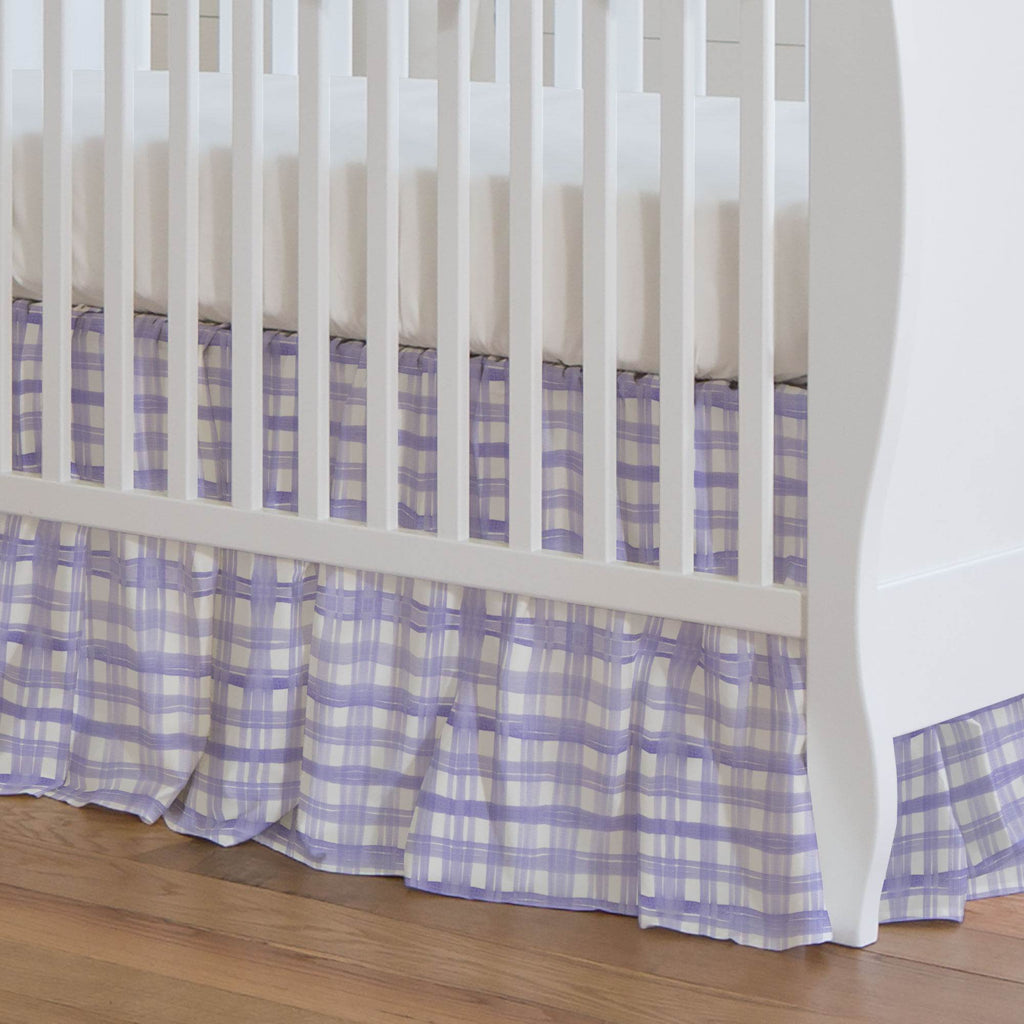 Product image for Lilac Watercolor Plaid Crib Skirt Gathered