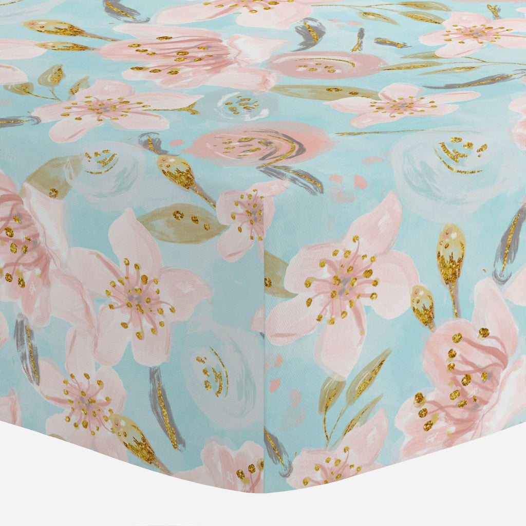Product image for Aqua and Pink Hawaiian Floral Crib Sheet