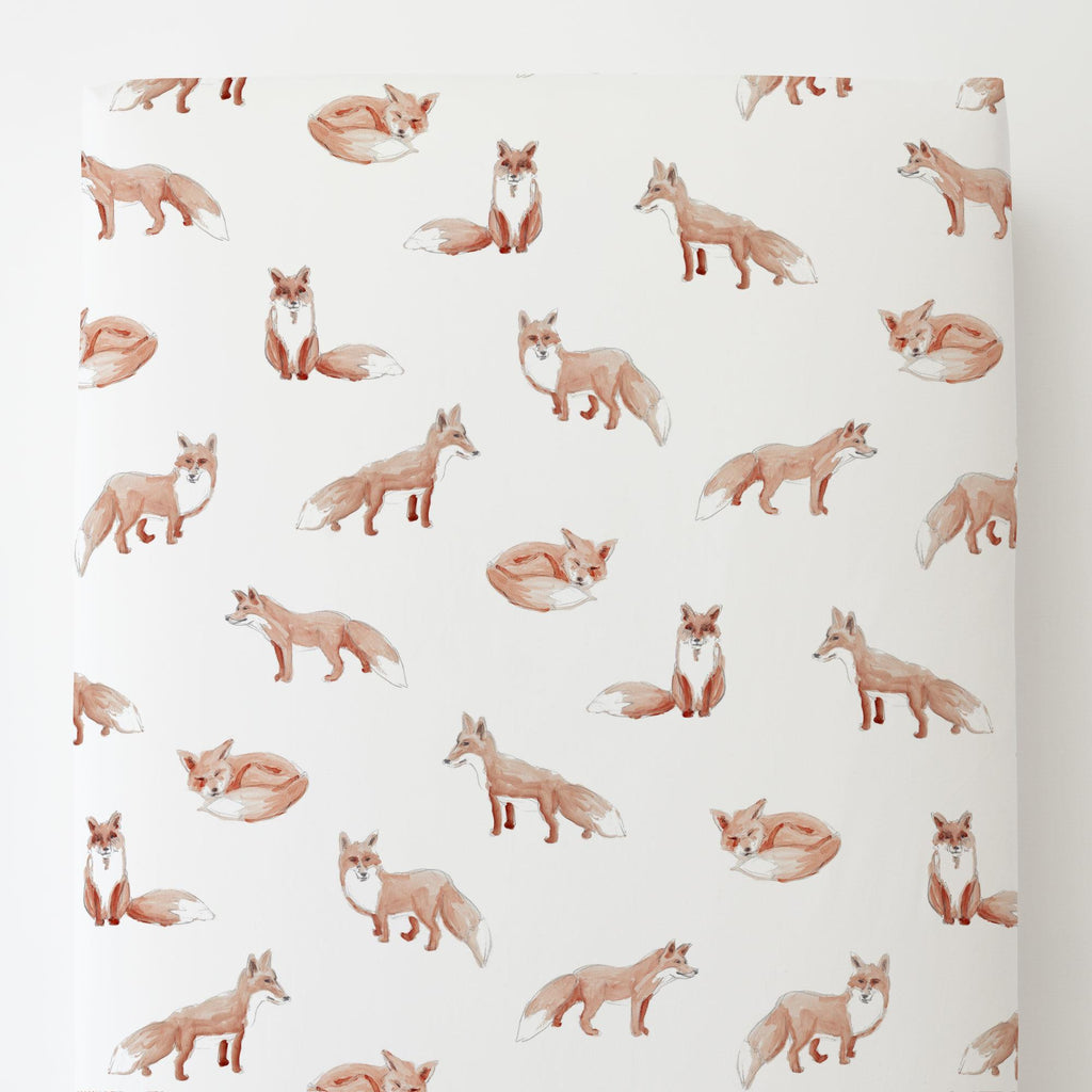 Product image for Watercolor Fox Toddler Sheet Bottom Fitted