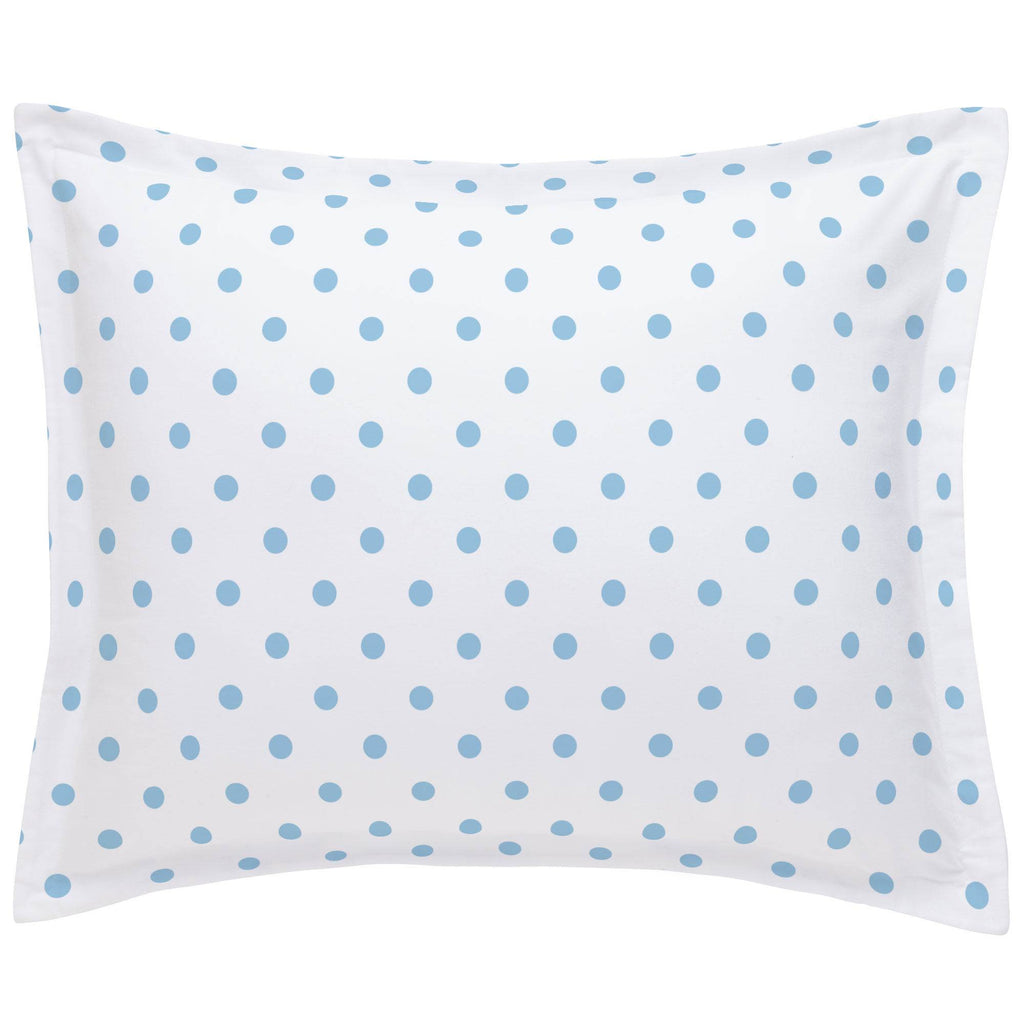 Product image for White and Lake Blue Dot Pillow Sham