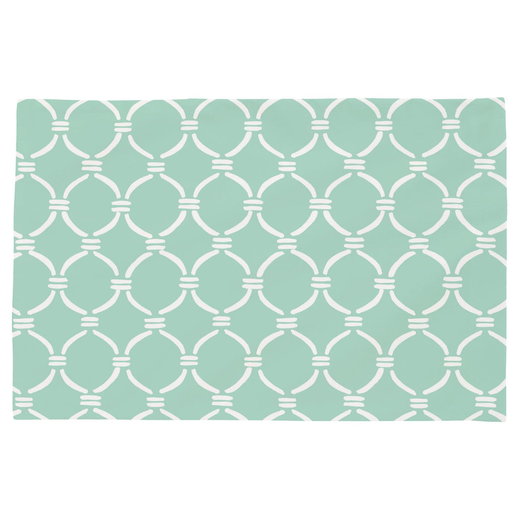 Product image for Mint and White Lattice Circles Toddler Pillow Case