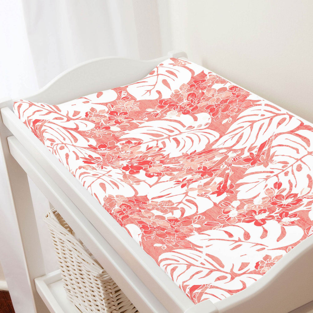 Product image for Light Coral Tropical Changing Pad Cover