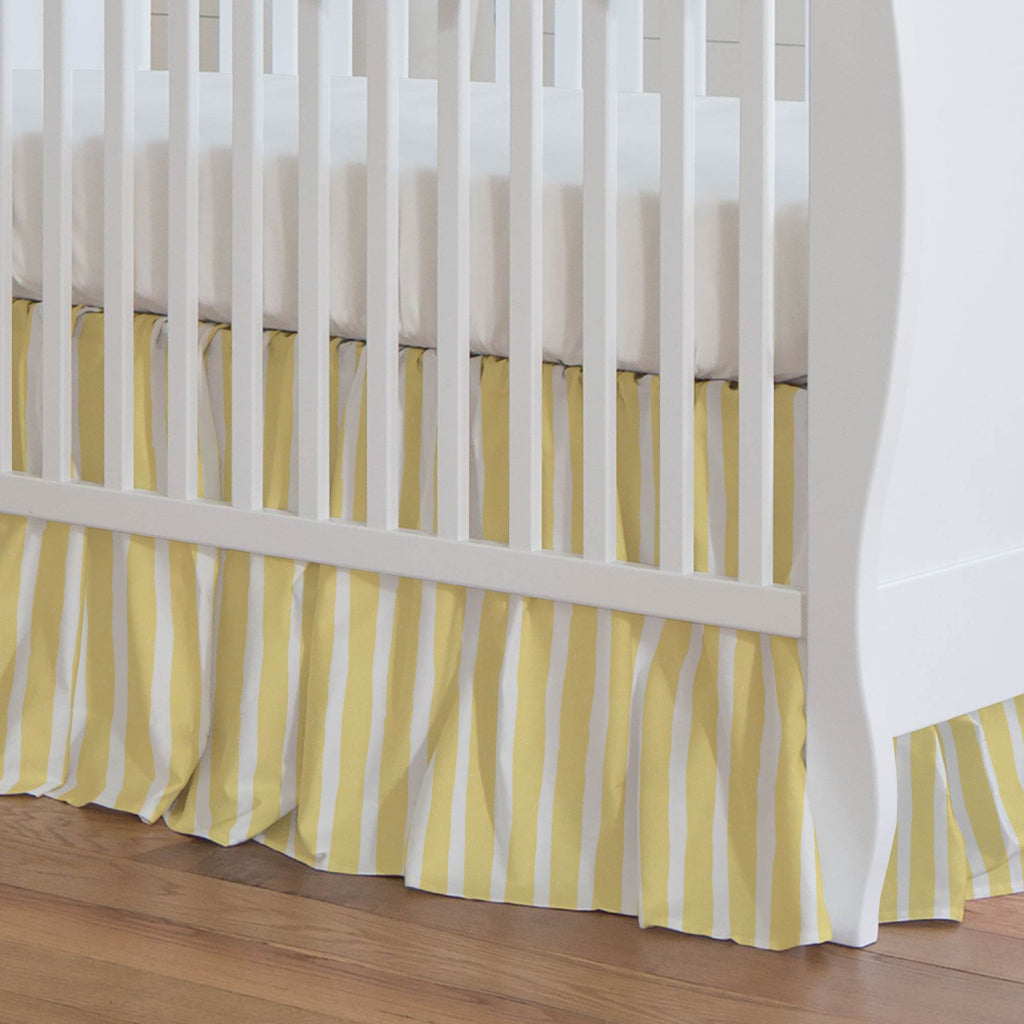 Product image for Banana Yellow Weathered Stripe Crib Skirt Gathered
