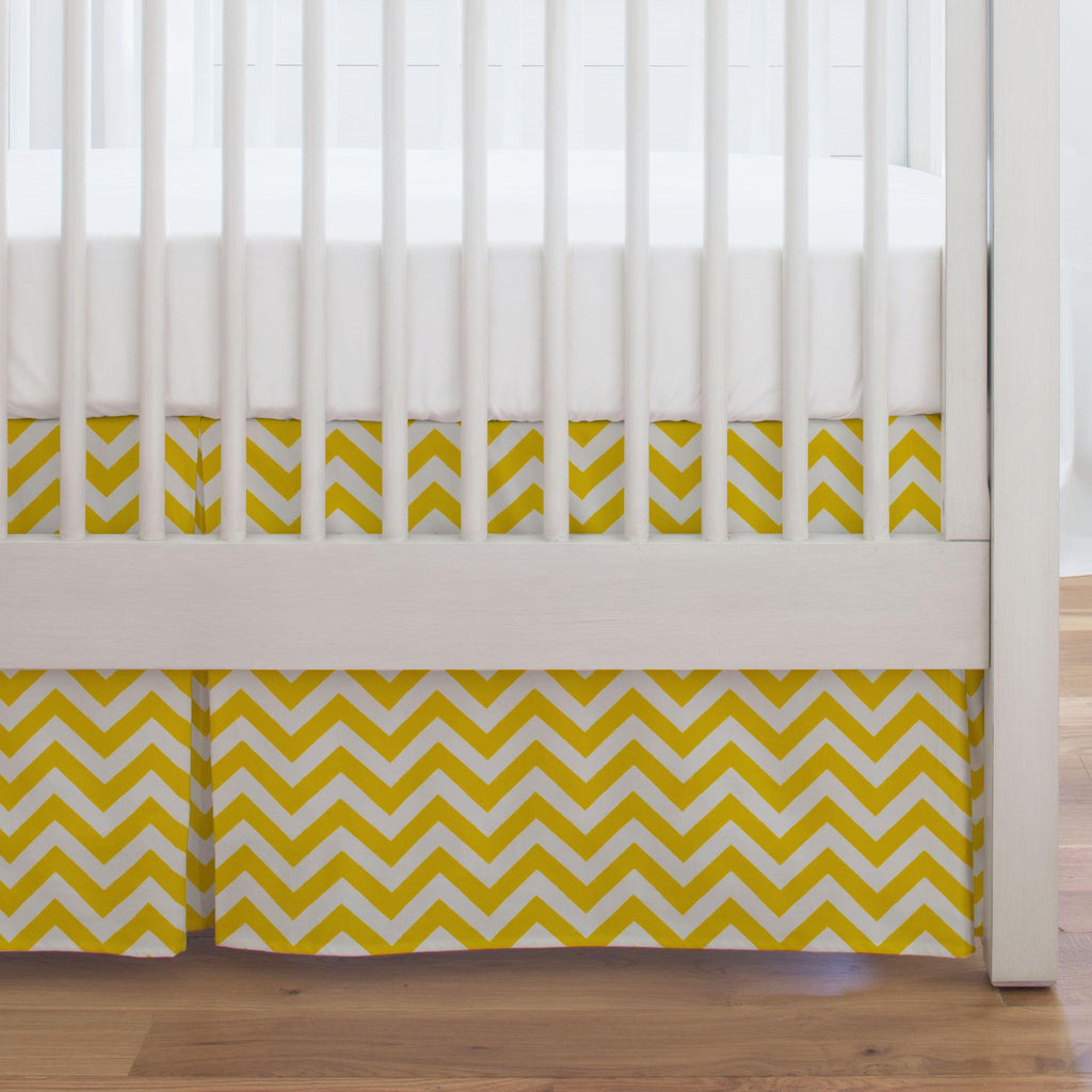 Product image for Yellow Zig Zag Crib Skirt Single-Pleat