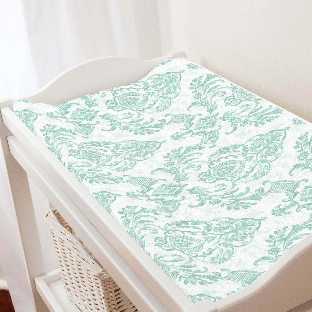 Product image for Mint Painted Damask Changing Pad Cover