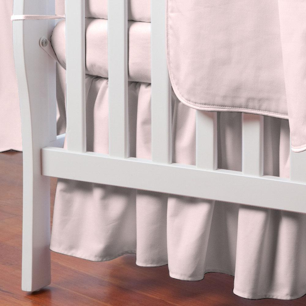 Product image for Solid Pink Mini Crib Skirt Gathered