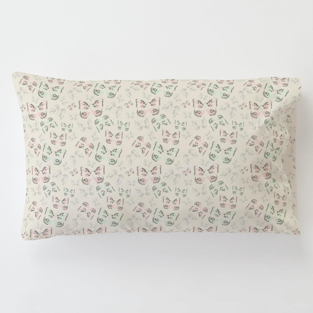 Product image for Blush and Ivory Butterfly Toddler Pillow Case with Pillow Insert