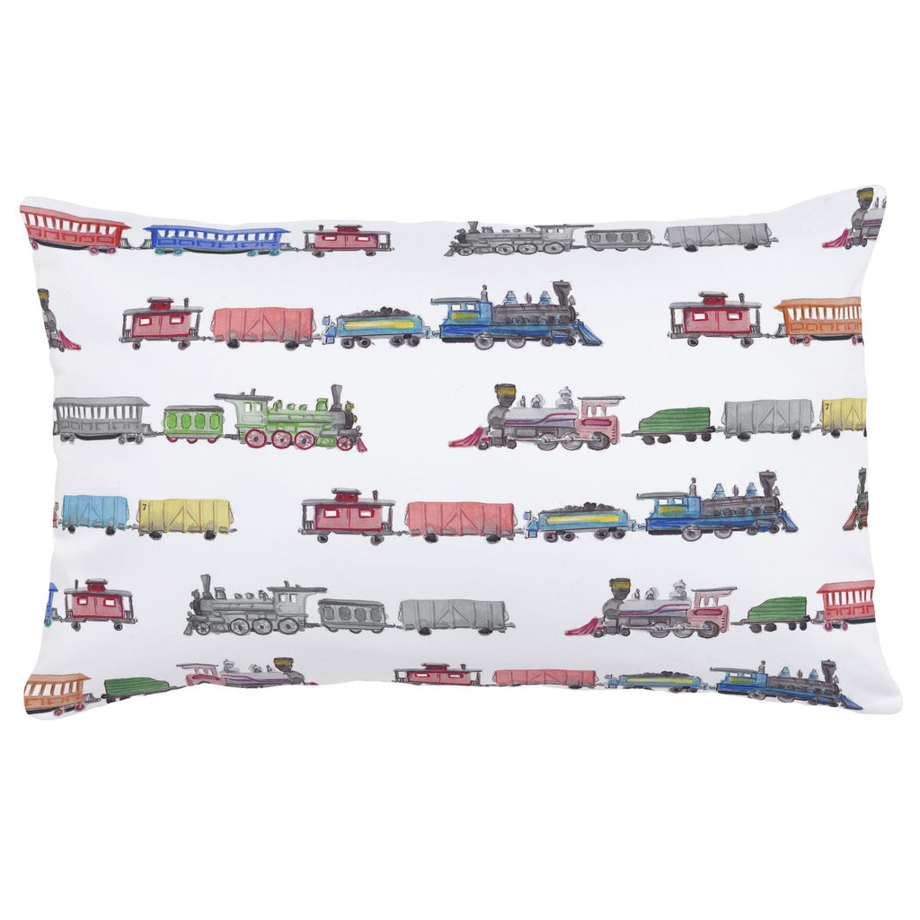 Product image for Watercolor Trains Lumbar Pillow