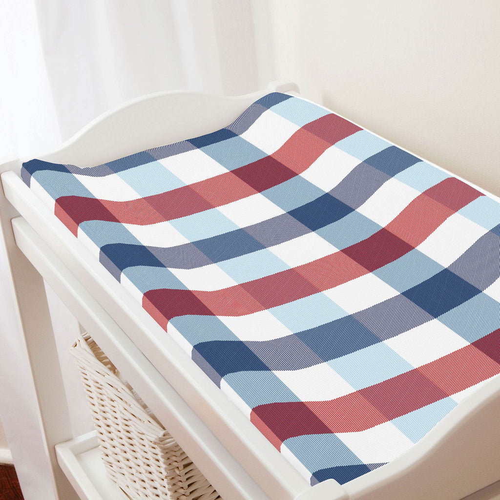 Product image for Navy and Red Buffalo Check Changing Pad Cover