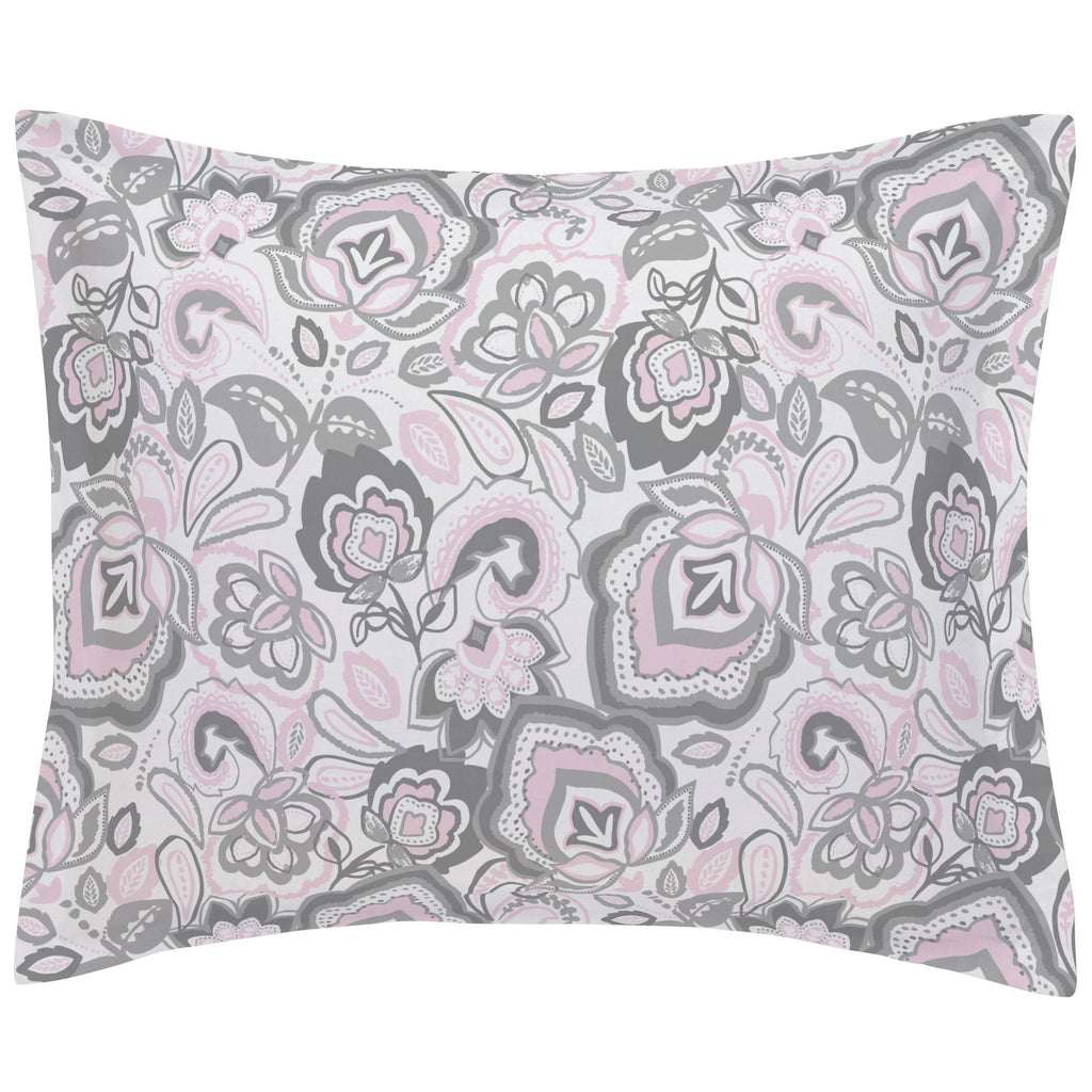 Product image for Pink and Gray Jacobean Pillow Sham