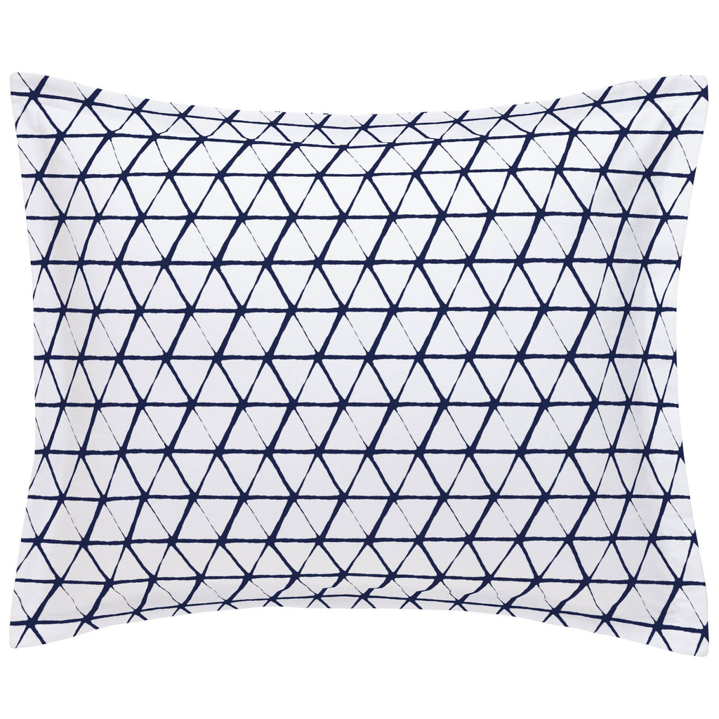 Product image for White and Navy Aztec Triangles Pillow Sham
