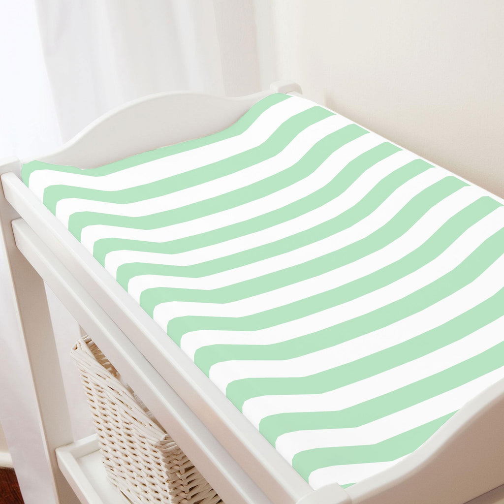 Product image for Mint Stripe Changing Pad Cover