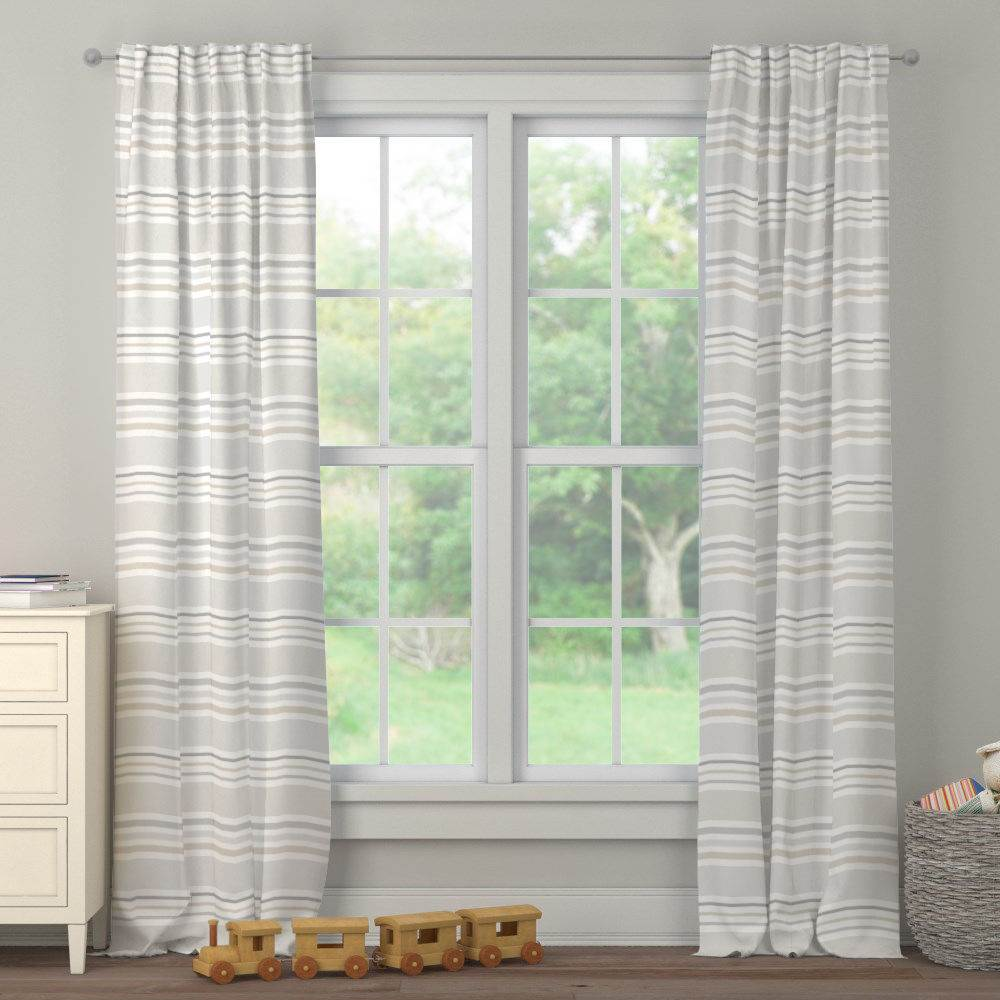 Product image for French Gray and Taupe Summer Stripe Drape Panel