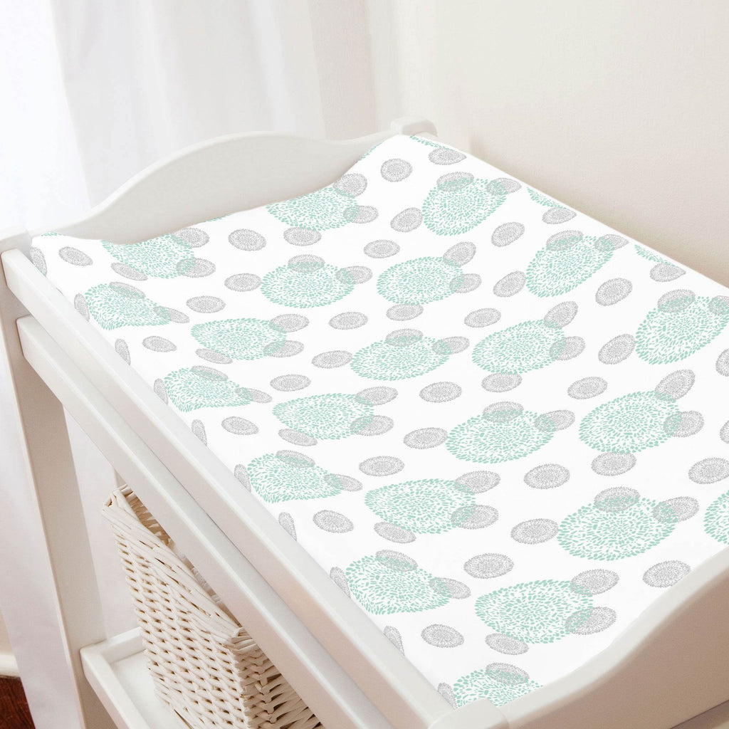 Product image for Mint and Silver Gray Dandelion Changing Pad Cover