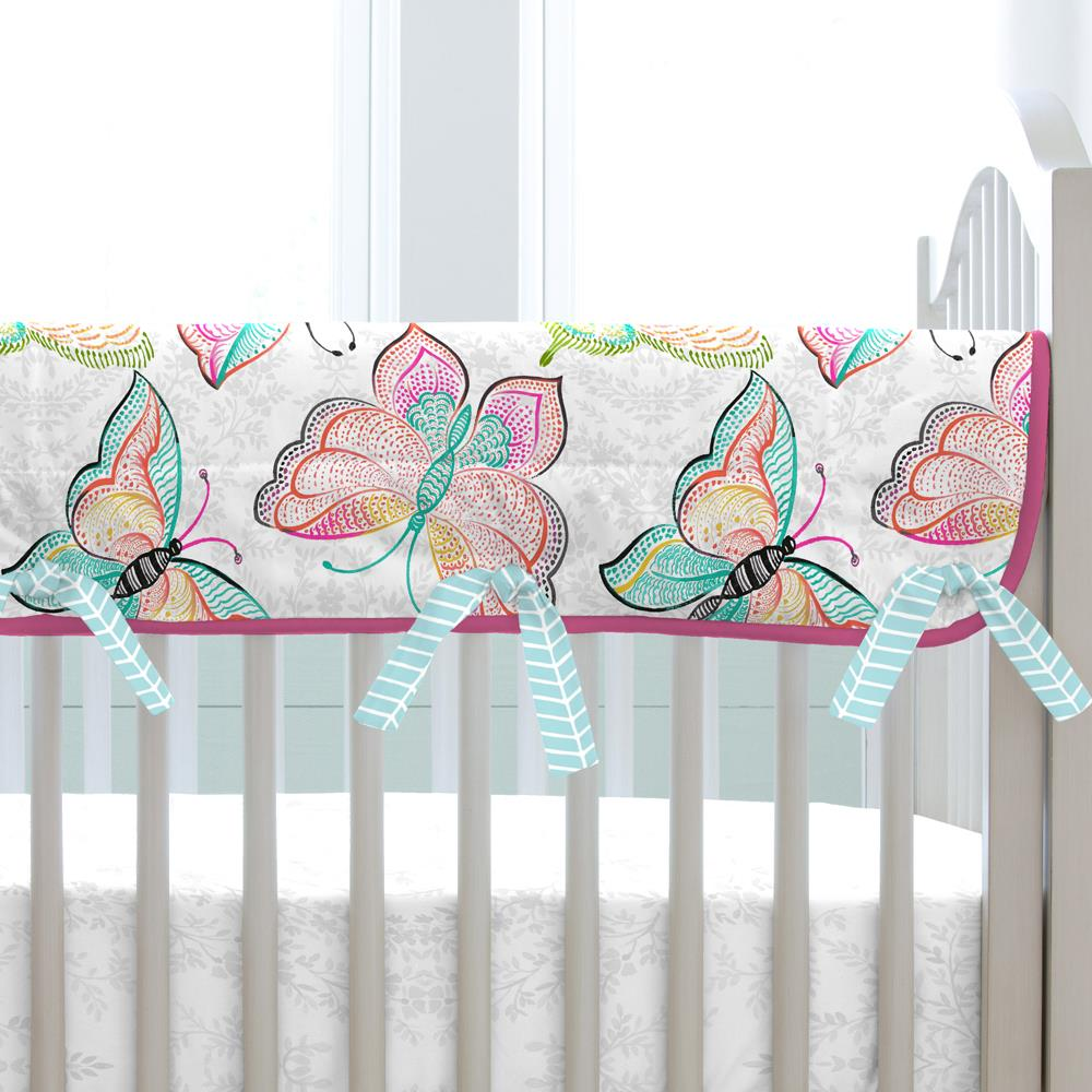 Product image for Bright Damask Butterflies Crib Rail Cover