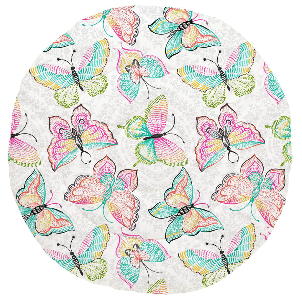 Product image for Bright Damask Butterflies Baby Play Mat