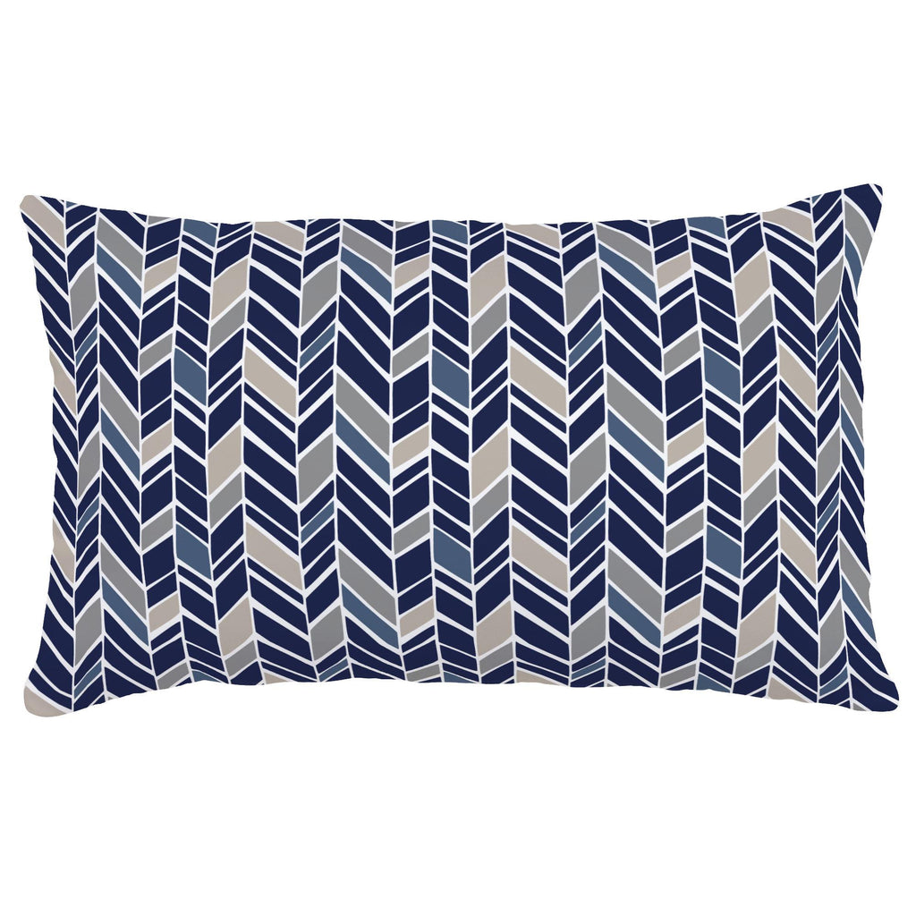 Product image for Taupe and Windsor Navy Herringbone Lumbar Pillow